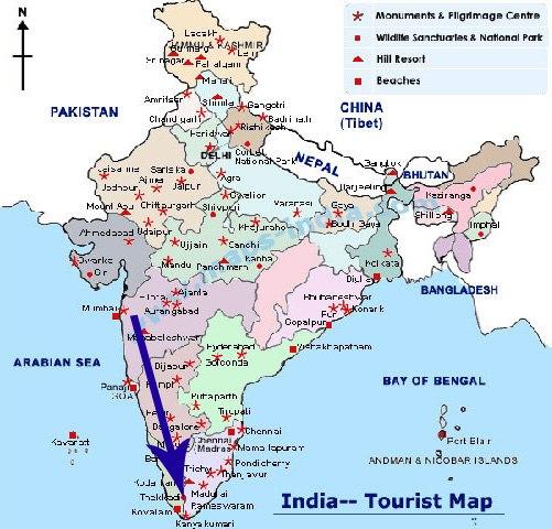 Карта путешествия по Индии